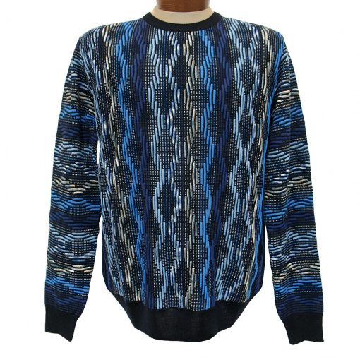 Men's Montechiaro® Made in Italy Long Sleeve Textured Crew Neck Sweater #161253 Blue
