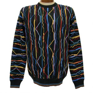 Men's Montechiaro® Made in Italy Long Sleeve Textured Crew Neck Sweater #161254 Multi