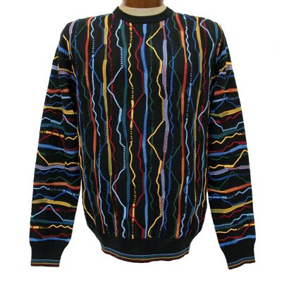 Men's Montechiaro® Made in Italy Long Sleeve Textured Crew Neck Sweater #161254 Multi