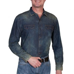 Men's Scully® Signature Series Long Sleeve 100% Cotton Mini Dot Print Wash Down Denim Shirt, #PS-119 Blue (M & XXL, ONLY!)