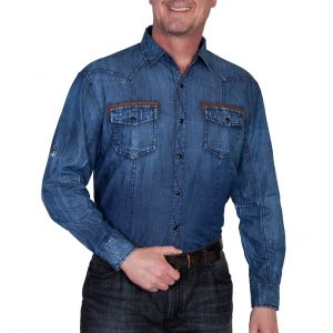 Men's Scully® Signature Series Long Sleeve 100% Cotton Denim Shirt With Contrast Trim, #PS-118 Blue