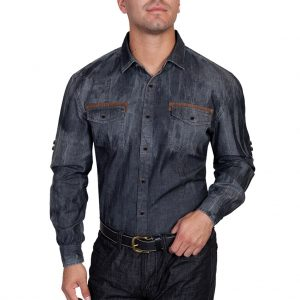 Men's Scully® Signature Series Long Sleeve 100% Cotton Denim Shirt With Contrast Trim, #PS-118 Charcoal
