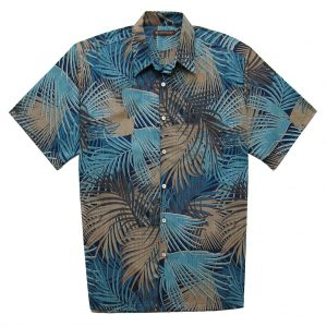 "Men's Tori Richard® Cotton Lawn Relaxed Fit Short Sleeve Shirt, So Shady #6448 Navy ""USE COUPON TR1 AT CHECK OUT"""