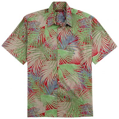 Men's Tori Richard® Cotton Lawn Relaxed Fit Short Sleeve Shirt, So Shady #6448 Red