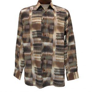 Men's Bassiri® Long Sleeve Button Front Microfiber Sport Shirt #6126 Beige