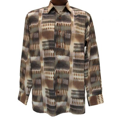 Men's Bassiri® Long Sleeve Button Front Microfiber Sport Shirt #6126 Beige