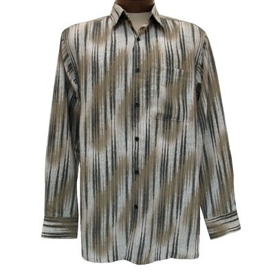 Men's Bassiri® Long Sleeve Button Front Microfiber Sport Shirt #6134 Taupe