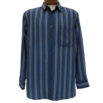 Men's Bassiri® Long Sleeve Button Front Microfiber Sport Shirt #6163 Blue