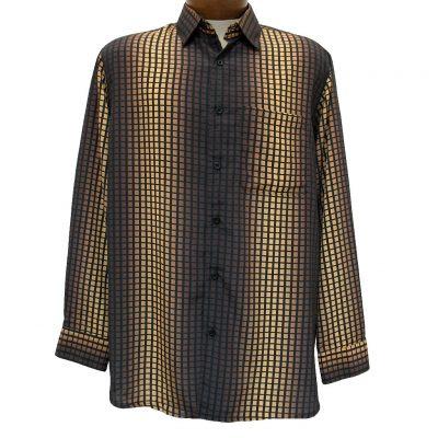Men's Bassiri® Long Sleeve Button Front Microfiber Sport Shirt #6175 Brown