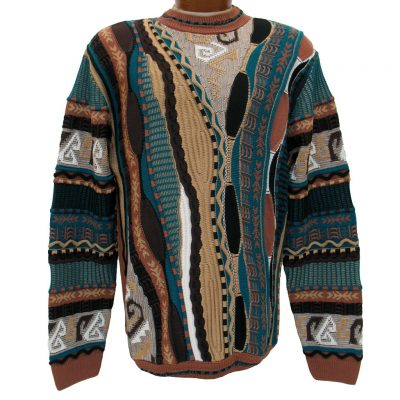 Men's Steven Land® Textured Crew Neck Sweater Made In The USA #152 Tan
