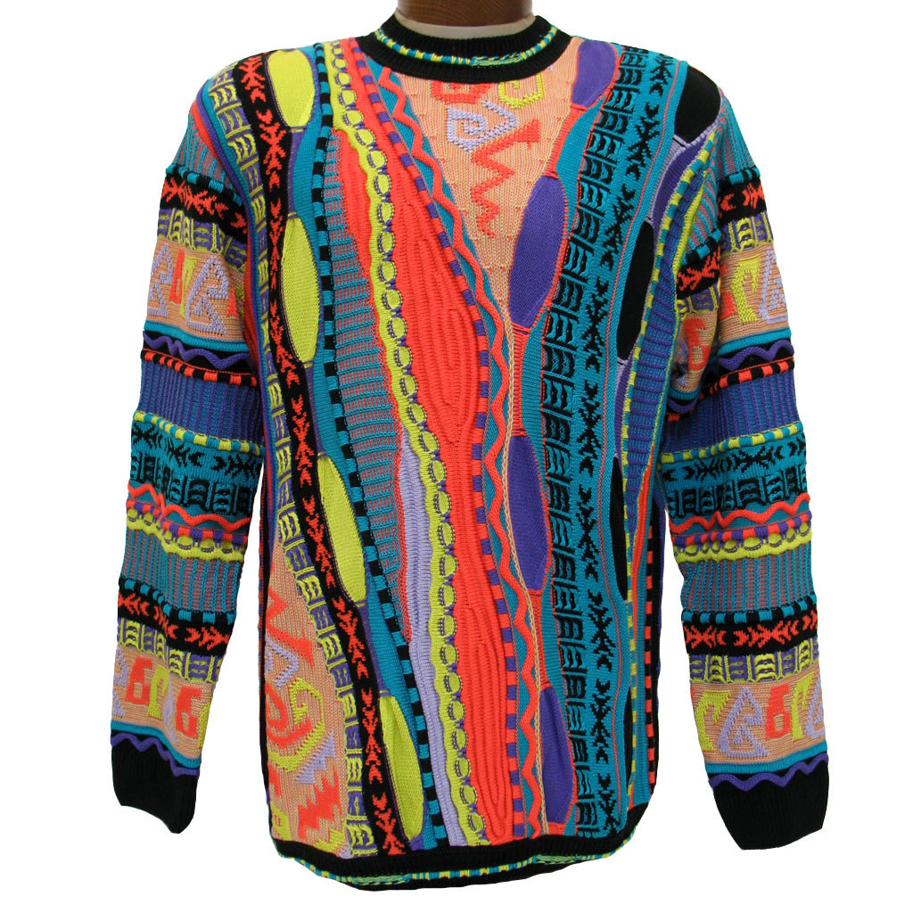 Men's Steven Land® Textured Crew Neck Sweater Made In The USA #158 Bright