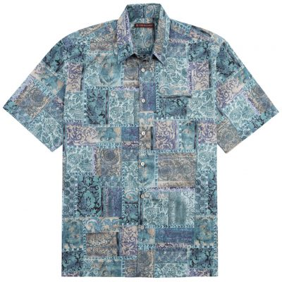 Men's Tori Richard® Cotton Lawn Relaxed Fit Short Sleeve Shirt, Maharaja #6386 Quartz