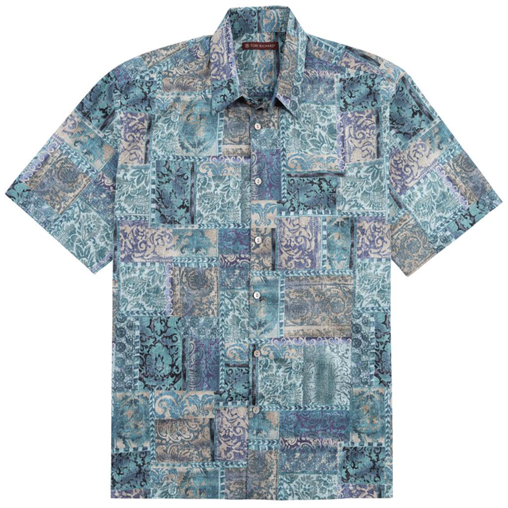 Men's Tori Richard® Cotton Lawn Relaxed Fit Short Sleeve Shirt, Maharaja #6386 Quartz