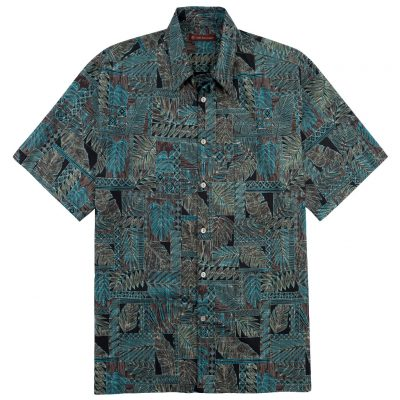 Men's Tori Richard® Cotton Lawn Relaxed Fit Short Sleeve Shirt, Matchbox #6447 Black