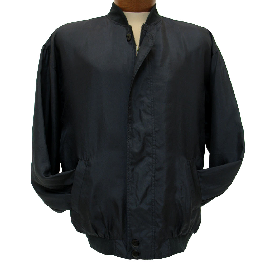 Men's Washable 100% Silk Bomber-Baseball Jacket By Intro #1315 Black