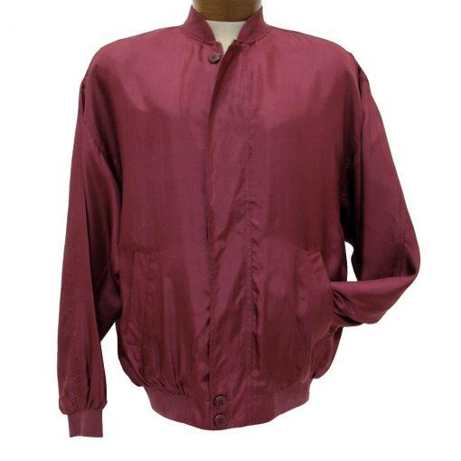 Men's Washable 100% Silk Bomber-Baseball Jacket By Intro #1315 Burgundy