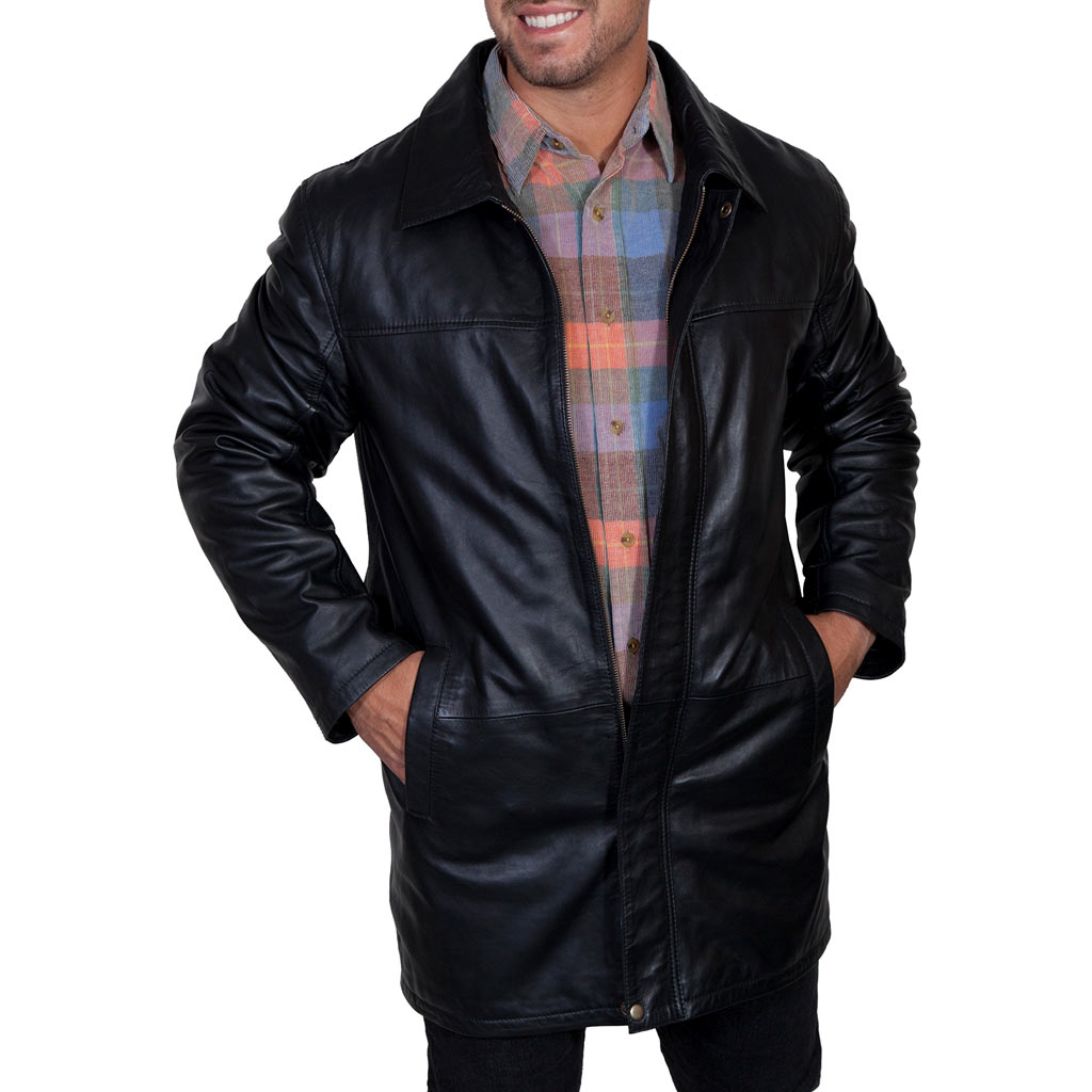 Men's Scully® Soft Leather 3/4 Length Coat With Zip Out Liner #600 Black