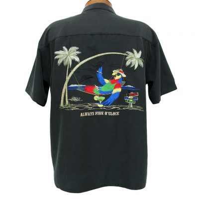 Men's Bamboo Cay® Short Sleeve Embroidered Modal Blend Aloha Shirt, Always Five O'Clock #WB5000 Black