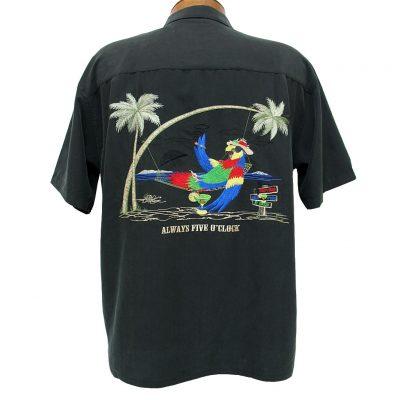 Men's Bamboo Cay® Short Sleeve Embroidered Modal Blend Aloha Shirt, Always Five O'Clock #WB5000 Black