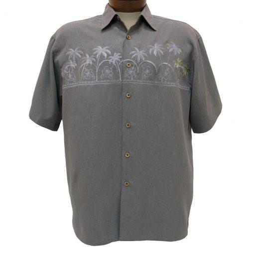 Men's Bamboo Cay® Short Sleeve Embroidered Modal Blend Aloha Shirt, Chest Palm Island #WB701 Medium Grey