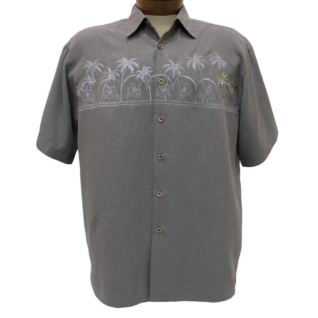 Men's Bamboo Cay® Short Sleeve Embroidered Modal Blend Aloha Shirt, Chest Palm Island #WB701 Medium Grey