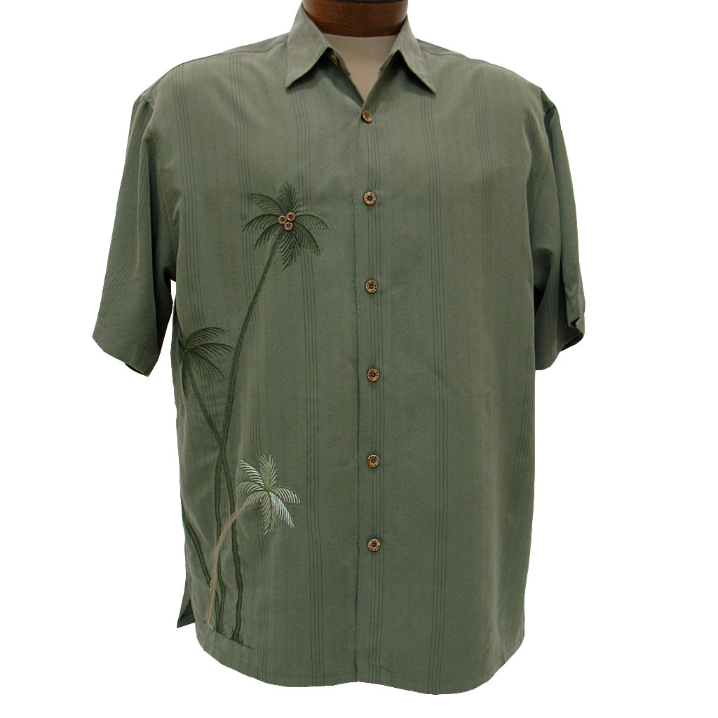 Men's Bamboo Cay® Short Sleeve Embroidered Modal Blend Aloha Shirt, Flying Palms #WB700 Olive