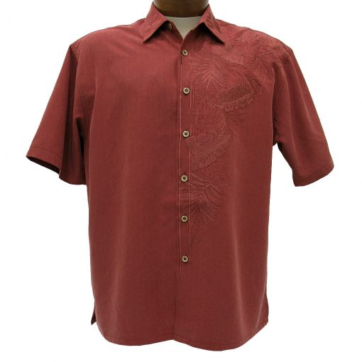 Men's Bamboo Cay® Short Sleeve Embroidered Modal Blend Aloha Shirt, Island Leaf Nation #WB7000B Burgundy