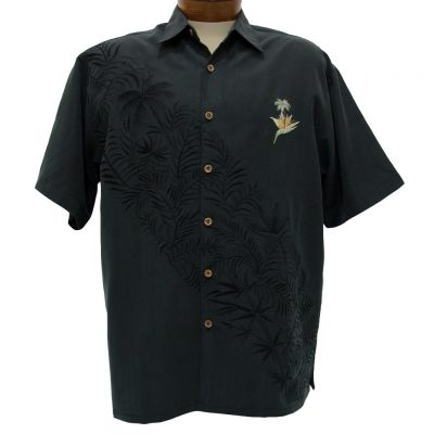 Men's Bamboo Cay® Short Sleeve Embroidered Modal Blend Aloha Shirt, Paradise Bambooquet #WB702 Black
