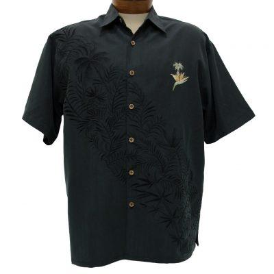 Men's Bamboo Cay® Short Sleeve Embroidered Modal Blend Aloha Shirt, Paradise Bambooquet #WB702 Black