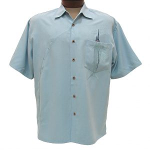Men's Bamboo Cay Short Sleeve Embroidered Modal Blend Aloha Shirt, Shake The Hook #WB871 Chalk Blue