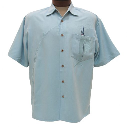 Men's Bamboo Cay® Short Sleeve Embroidered Modal Blend Aloha Shirt, Shake The Hook #WB871 Chalk Blue