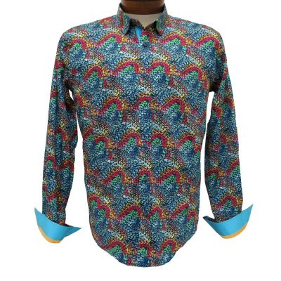 Men's Eight X® 100% Cotton Long Sleeve Abstract Digital Print Shirt With Contrast Trim, #M-10208 Multi
