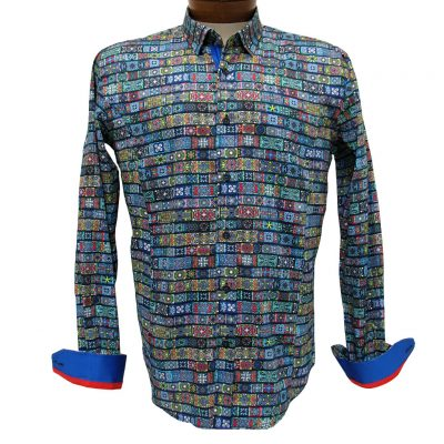 Men's Eight X® 100% Cotton Long Sleeve Multi Digital Print Shirt With Contrast Trim, #M-10212 Multi