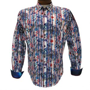 Men's Eight X 100% Cotton Long Sleeve Flowers Over Stripes Print Shirt With Contrast Trim, #M-1757 Fuchsia