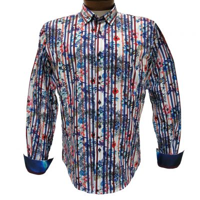 Men's Eight X® 100% Cotton Long Sleeve Flowers Over Stripes Print Shirt With Contrast Trim, #M-1757 Fuchsia