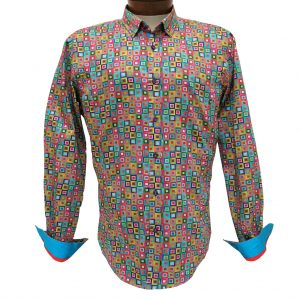 Men's Eight X 100% Cotton Long Sleeve Multi Printed Squares Shirt With Contrast Trim, #M-1763 Multi