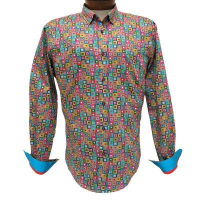 Men's Eight X® 100% Cotton Long Sleeve Multi Printed Squares Shirt With Contrast Trim, #M-1763 Multi