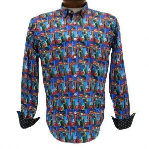 Men's Eight X 100% Cotton Long Sleeve Abstract Digital Print Shirt With Contrast Trim, #M-1836 Multi (XXL & XXXL, ONLY!)