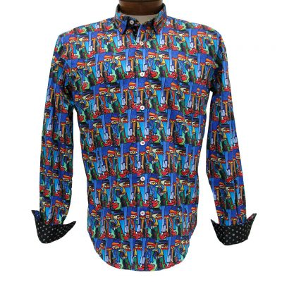 Men's Eight X® 100% Cotton Long Sleeve Abstract Digital Print Shirt With Contrast Trim, #M-1836 Multi