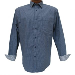 Men's F/X Fusion® 100% Cotton Long Sleeve Sport Shirt With Contrast Trim, Navy Circle Print #C105