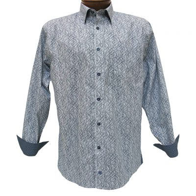 Men's F/X Fusion® 100% Cotton Long Sleeve Sport Shirt With Contrast Trim, Navy Wave Print #C104