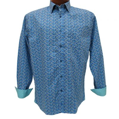 Men's F/X Fusion® 100% Cotton Long Sleeve Sport Shirt With Contrast Trim, Royal/Teal Mosaic Print #C103