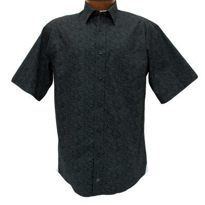 Men's F/X Fusion® Short Sleeve 100% Cotton Sport Shirt, Black/Charcoal Swirl Print #C128