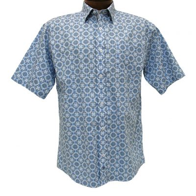 Men's F/X Fusion® Short Sleeve 100% Cotton Sport Shirt, Blue/Taupe Persian Neat Print #C121