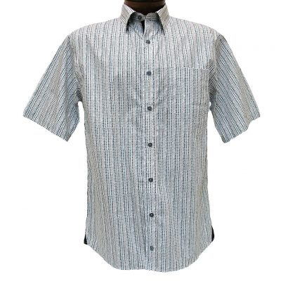 Men's F/X Fusion® Short Sleeve 100% Cotton Sport Shirt, Charcoal/White Broken Circle Print #C129