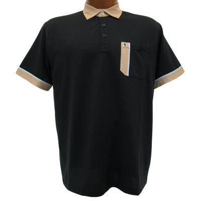Men's Gabicci Short Sleeve Knit Hard Collared 52% Cotton 48% Polyester Polo Shirt, #X01 Black