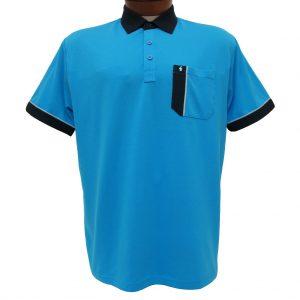 Men's Gabicci Short Sleeve Knit Hard Collared 52% Cotton 48% Polyester Polo Shirt, #X01 Caribbean