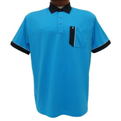 Men's Gabicci Short Sleeve Knit Hard Collared 52% Cotton 48% Polyester Polo Shirt, #X01 Caribbean