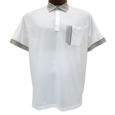 Men's Gabicci Short Sleeve Knit Hard Collared 52% Cotton 48% Polyester Polo Shirt, #X01 White