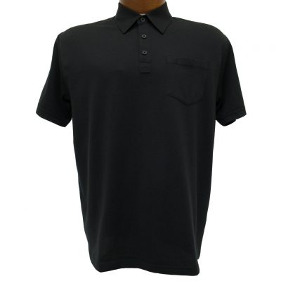 Men's Gabicci Short Sleeve Knit Hard Collared 52% Cotton 48% Polyester Polo Shirt, #Z05 Black